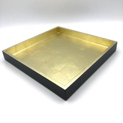 Lacquertablett gold/schwarz Schlagmetall quadratisch