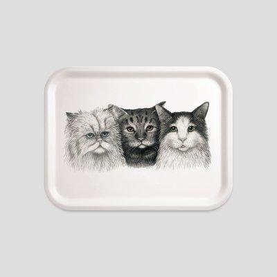 Tablett Katzen Buchenholz Melamin