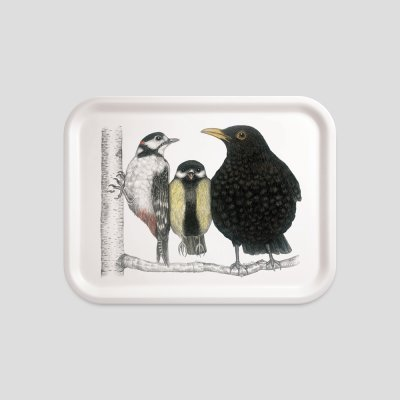 Tablett Vögel Buchenholz Melamin