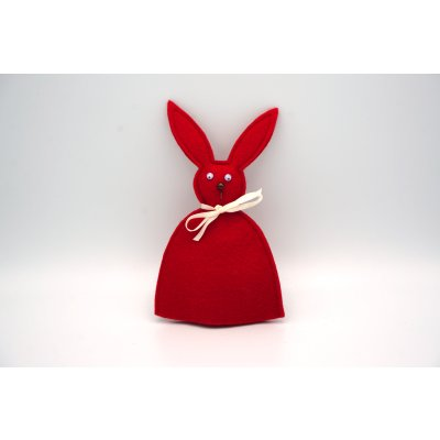 bunny egg cozy red