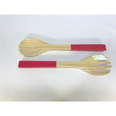 Bamboo Pair of salad servers pink