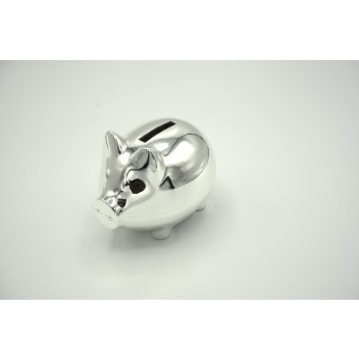 Piggy bank silver plated