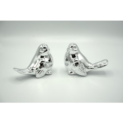 Deco sparrow couple silver plated