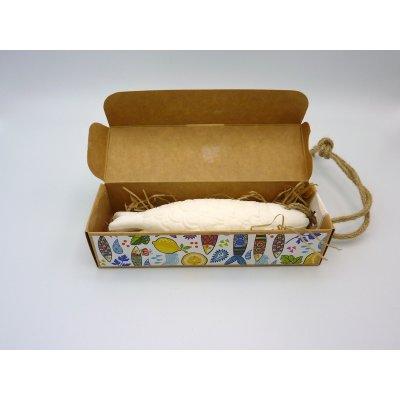 Seife mit Seil in Verpackung